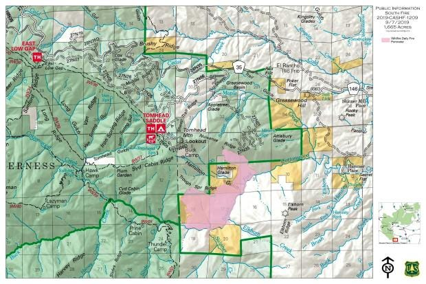 This map shows where the South Fire is burning outside Red Bluff.