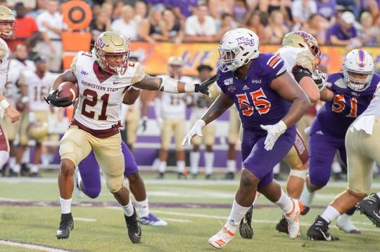 Midwestern State and running back Quinton Childs (21) took it to Northwestern State on Saturday.