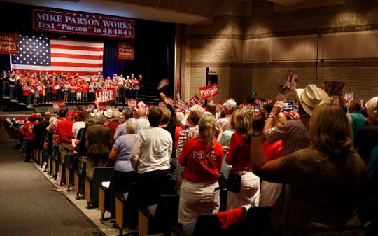 A large crowd was on hand as Gov. Mike Parson announced his run for governor at a launch event at Bolivar High School on Sept. 8, 2019.