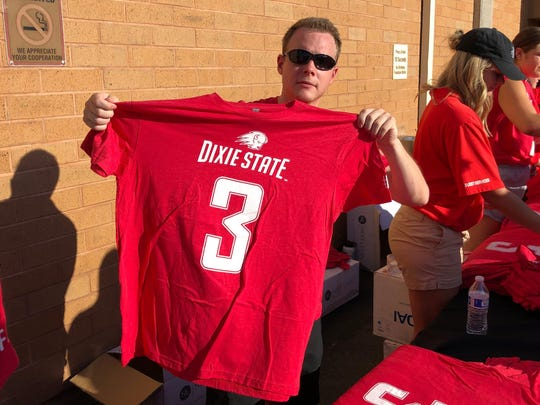 Dixie State's commemorative shirt to honor late linebacker Abraham Reinhardt.