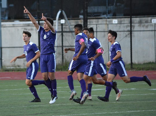 A goal from Tyler Manley in the closing seconds of the first half was all New Rochelle needed. Huguenots keeper Jake Sadow made a dozen saves to lock down the 1-0 win against Ossining on Sept. 8, 2018 at New Rochelle High School.