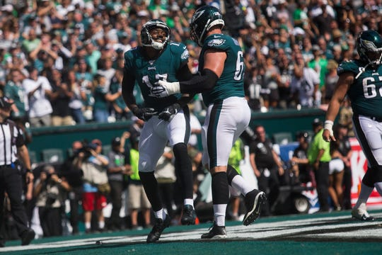 Eagles' Alshon Jeffery (17) celebrates a touchdown Sunday against the Redskins at Lincoln Financial Field.