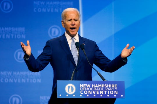 Democratic presidential candidate former Vice President Joe Biden speaks during the New Hampshire state Democratic Party convention, Saturday, Sept. 7, 2019, in Manchester, NH.