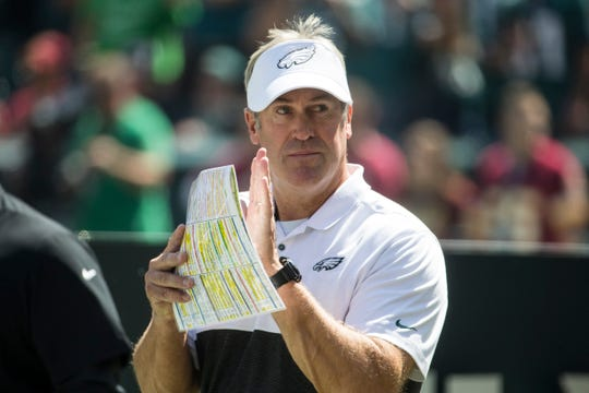 Eagles head coach Doug Pederson walks the sideline Sunday at Lincoln Financial Field.