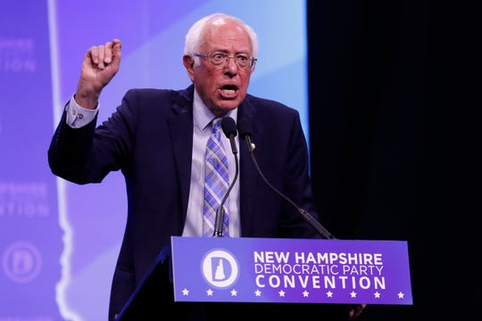 Democratic presidential candidate Sen. Bernie Sanders, I-Vt., speaks during the New Hampshire state Democratic Party convention, Saturday, Sept. 7, 2019, in Manchester, NH.