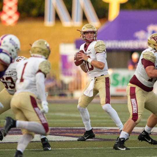 Midwestern State quarterback Zach Purcell was in impressive in his first start for the Mustangs, passing for 323 yards and three TDs in a 33-7 victory against Northwestern State.