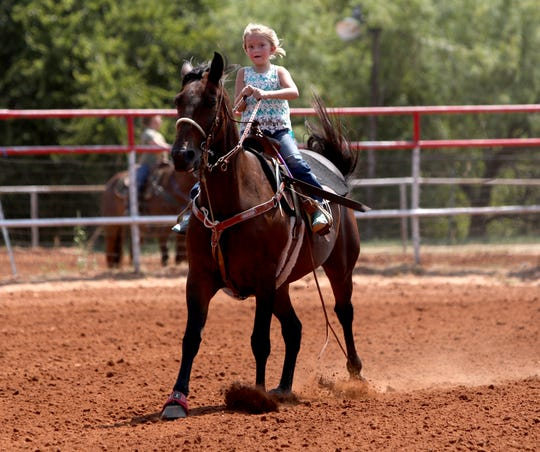 Taylor Thompson rides to the goat in the 8 under division Saturday, Sept. 7, 2019, in the third Wichita County Mounted Patrol Youth Play Day Series.
