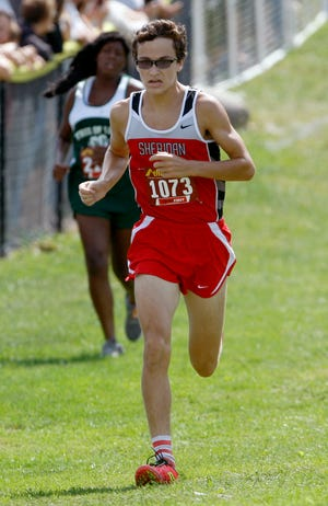 Sheridan's William Wilke finishes third in the Boys Division II race at the McGowan Invitational on Saturday, at Watkins Memorial High School.