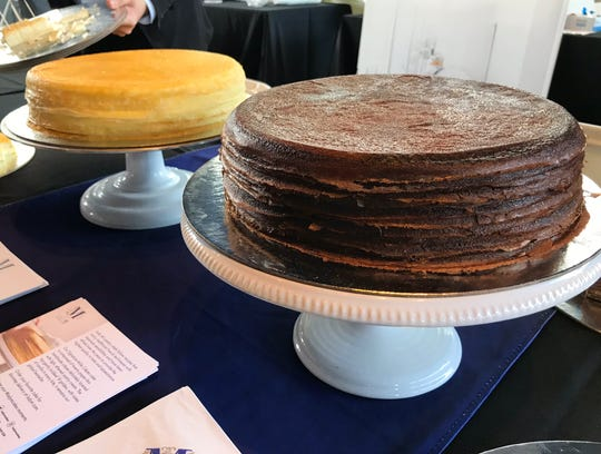 Vanilla, left, and chocolate cake