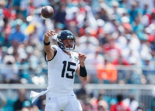 Jacksonville Jaguars QB Gardner Minshew throws a pass during the second quarter against the Kansas City Chiefs.