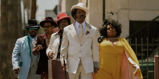 "Eddie Murphy (center) leads the ""Dolemite Is My Name"" ensemble cast, which also includes Craig Robinson, Mike Epps, Tituss Burgess and Da'Vine Joy Randolph."