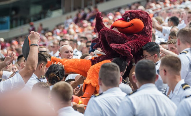 """The Hokie Bird"" is lifted into the air by the Corp of Cadets during Virginia Tech's game against the Old Dominion Monarchs at Lane Stadium."