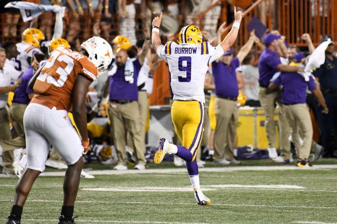 LSU quarterback Joe Burrow celebrates a touchdown against Texas.