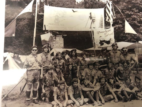 Members of Troop 8 at a national jamboree in the 1970s.
