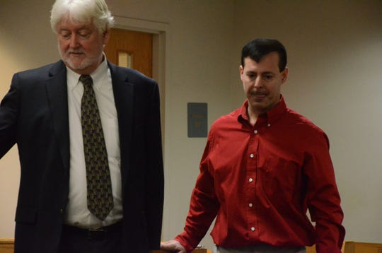 Michael Mileski with his attorney, Richard Pattison, left, in May.