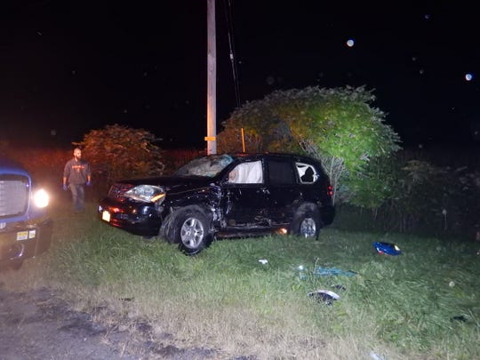 This vehicle was struck by a pick-up truck in what Cortland County sheriff's deputies said was a crash involving a drunk driver.
