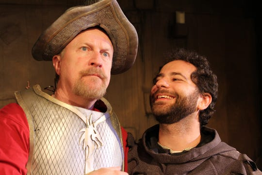 "Tim Gleason, left, and Eric Bill star as Cervantes/Don Quixote and Sancho Panza, respectively, in the KNOW Theatre production of ""Man of La Mancha."""