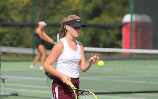 Owen senior Summer Thoma prepares to serve in a Sept. 5 match at home against Smoky Mountain.