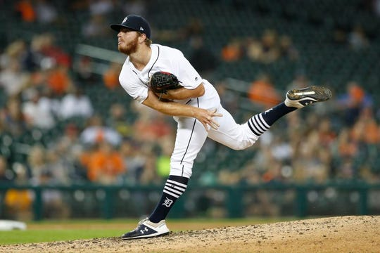 Detroit Tigers relief pitcher David McKay throws against the Minnesota Twins, Friday, Aug. 30, 2019, in Detroit.