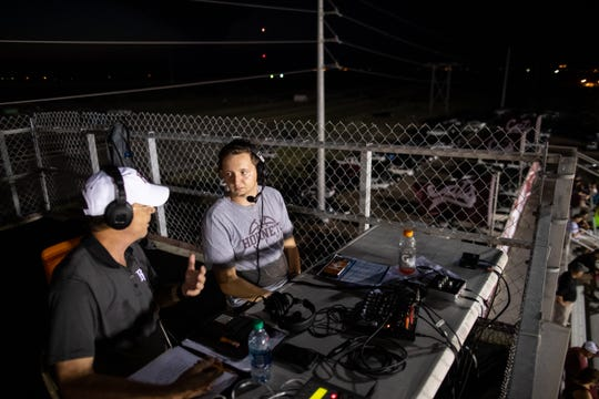 Flour Bluff senior Zach Turner with Terry Shannon run a radio show during the Flour Bluff, Calallen game at Wildcat Stadium on Friday, Sept. 6, 2019.