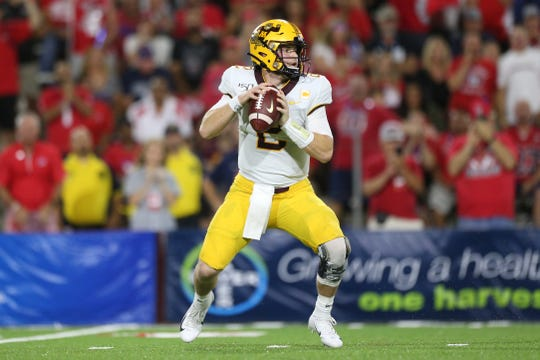 Sep 7, 2019; Fresno, CA, USA; Minnesota Golden Gophers quarterback Tanner Morgan (2) looks to throw a pass against the Fresno State Bulldogs in the first quarter at Bulldog Stadium.