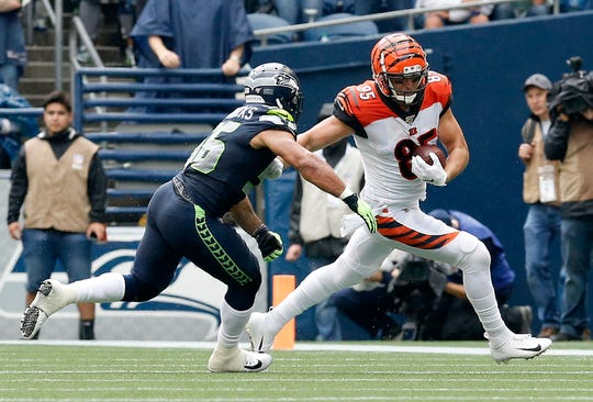 Cincinnati Bengals tight end Tyler Eifert (85) makes a catch in the third quarter of the NFL Week 1 game between the Seattle Seahawks and the Cincinnati Bengals at CenturyLink Field in Seattle on Sunday, Sept. 8, 2019. The Bengals lost 21-20 in the season opener.