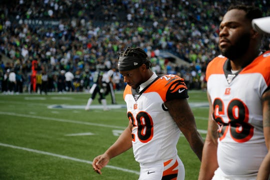 Cincinnati Bengals running back Joe Mixon (28), having left the game early due to injury, heads for the locker room after the fourth quarter of the NFL Week 1 game between the Seattle Seahawks and the Cincinnati Bengals at CenturyLink Field in Seattle on Sunday, Sept. 8, 2019. The Bengals lost 21-20 in the season opener.