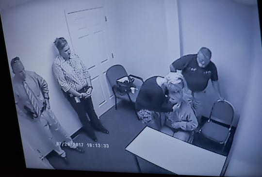 "A video interview with Warren County Sheriff's Office detectives is played during the trial of Brooke ""Skylar"" Richardson in the Warren County Common Pleas Court Monday, Sept. 9. This portion show her parents talking to her with detectives in the interrogation room."