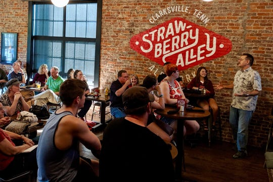 Austin Peay's Dr. J. Allyn Smith talks black holes at the inaugural Science on Tap Sept. 3, 2019, at Strawberry Alley Ale Works.