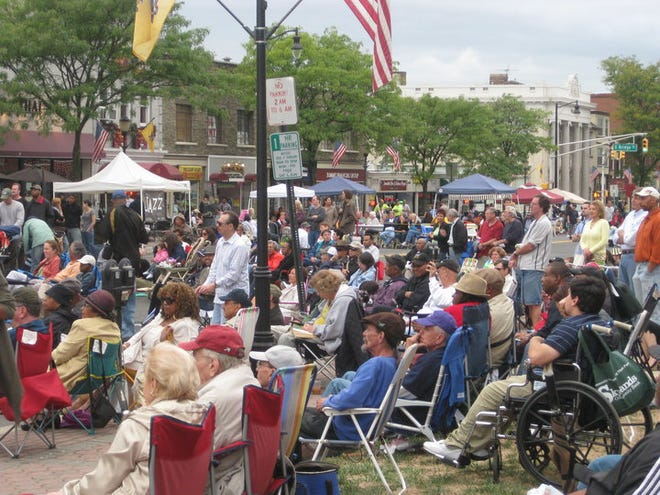 """Guests enjoy a previous annual JazzFest, part of Somerville's Art on Division """"Arts & Music Weekend."""