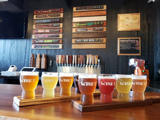 Flights of craft beers from Wise I Brewing Company in Le Mars, the 100th brewery in Iowa.