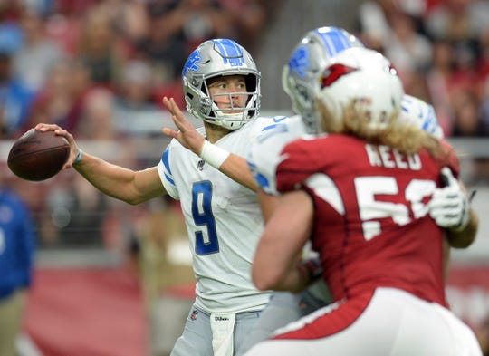 Matthew Stafford passes against the Cardinals on Sunday.