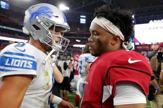 Cardinals quarterback Kyler Murray, right, greets Lions quarterback Matthew Stafford after the 27-27 tie on Sunday, Sept. 8, 2019, in Glendale, Ariz.