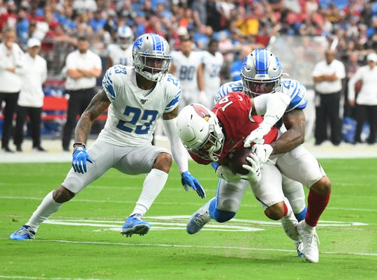 Lions cornerback Darius Slay, left, gave up one catch last week against the Cardinals.