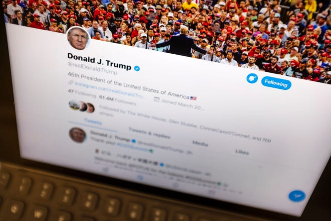 This June 27, 2019, file photo President Donald Trump's Twitter feed is photographed on an Apple iPad in New York.