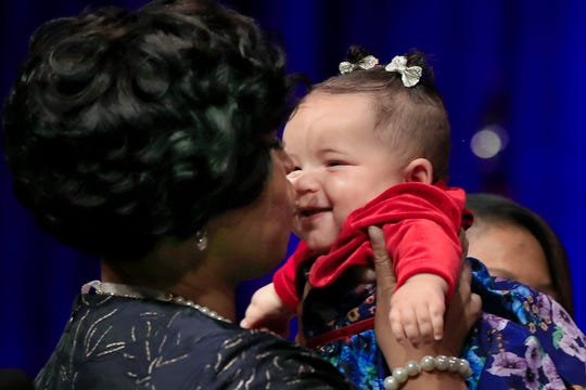 In this Jan. 2, 2019 file photo, District of Columbia Mayor Muriel Bowser kisses her daughter Miranda Elizabeth Bowser, after being sworn in as mayor of the District of Columbia.