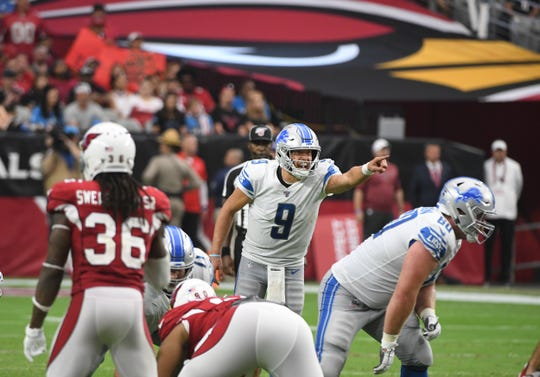 Lions quarter Matthew Stafford yells out to teammates  in the fourth quarter.