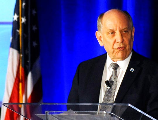 National Weather Service Director Louis Uccellini addresses a meeting of the National Weather Association in Huntsville, Ala., Monday, Sept. 9, 2019. Uccellini defended forecasters who contradicted President Donald Trump's claim that Hurricane Dorian posed a threat to Alabama as it approached the United States.