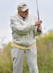 Jack Schodowski, 91, of Rochester HIlls, watches his shot off the 7th tee.