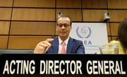 Acting Director General of the International Atomic Energy Agency, IAEA, Cornel Feruta from Romania waits for the start of the IAEA board of governors meeting at the International Center in Vienna, Austria, Monday, Sept. 9, 2019.