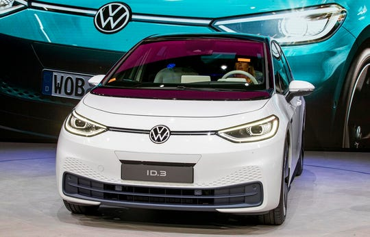The new Volkswagen ID.3 is displayed at the IAA Auto Show in Frankfurt, Germany, Monday, Sept. 9, 2019.