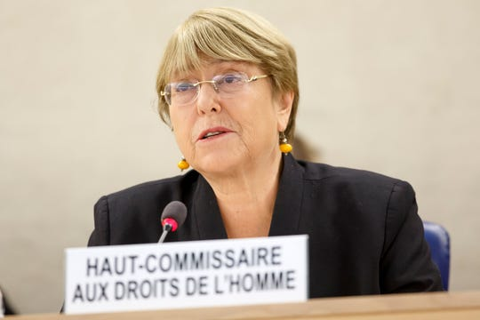 U.N. High Commissioner for Human Rights, Michelle Bachelet, attends the opening of 42nd session of the Human Rights Council at the European headquarters of the United Nations in Geneva, Switzerland, Monday, Sept. 9, 2019.
