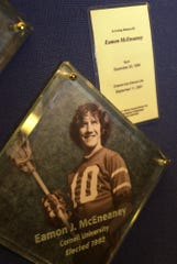 Eamon McEneaney's plaque is displayed at the Lacrosse Hall of Fame in Baltimore on Aug. 21, 2002. McEneaney was a standout at Cornell who died in the Sept. 11 terrorist attacks.