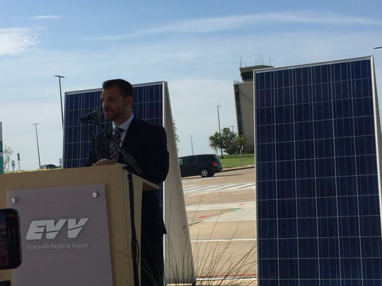 Evansville Regional Airport Executive Director Nate Hahn said the solar panel-covered canopy at EVV will be the largest project of its kind at any U.S. airport.
