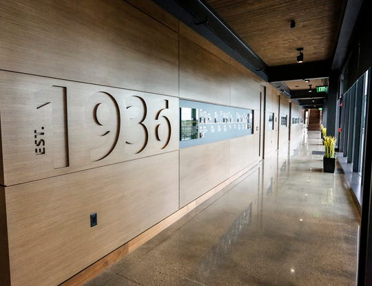 A hallway at the entrance of the new C.D. Smith Construction headquarters Wednesday, September 4, 2019 at 125 Camelot Drive in Fond du Lac, Wis.