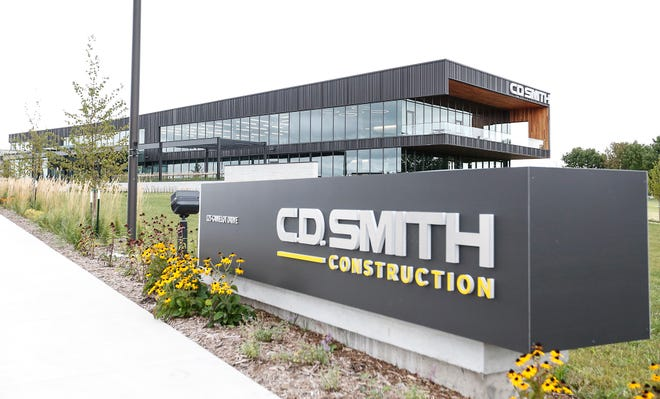 The new C.D. Smith Construction headquarters Wednesday, Sept. 4, 2019, at 125 Camelot Drive in Fond du Lac, Wis.