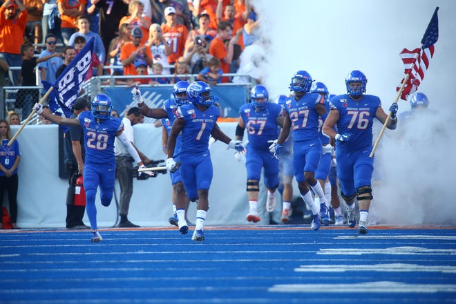 Sep 6, 2019; Boise, ID, USA; Boise State Broncos players take the field before the first half against the Marshall Thundering Herd at Albertsons Stadium. Mandatory Credit: Brian Losness-USA TODAY Sports