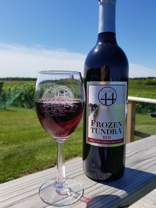 "Frozen Tundra Red, a wine made by Parallel 44 Vineyard and Winery from grapes grown on site, is one of two products made in Kewaunee County nominated for the ""Coolest Thing Made in Wisconsin"" award."
