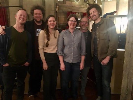 "Katie Dahl, third from right, in Hen House Studio in Nashville with some of the musicians who worked with Dahl  on her new album, ""Wildwood."" Shown are, from left, Steve Dawson, Jamie Dick, Kristin Weber, Dahl, Rich Higdon and producer JT Nero, who Dahl said helped give the album more of a rock 'n' roll vibe than her previous recordings."