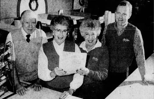 Harry Hoehne, his wife, Dorothy, sister-in-law Lillian Spofford, and son, Dan, are pictured inside Chili John's in Green Bay, Wis. in October 1989.